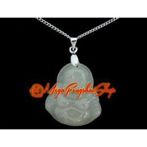 Laughing Buddha Crystal Pendant Necklace (Jade)