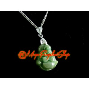 Laughing Buddha Crystal Pendant (Green Jade)
