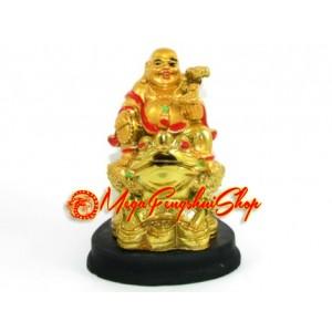 Laughing Buddha Holding Ruyi on Money Frog