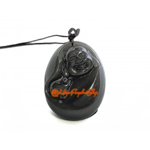 Laughing Buddha Obsidian Pendant