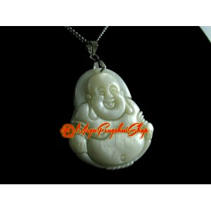 Laughing Buddha Pendant Necklace (White Shell)