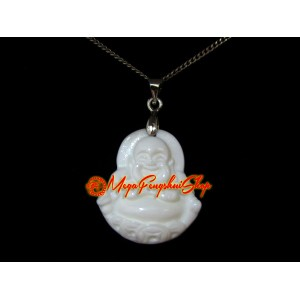 Laughing Buddha Pendant (White Coral)