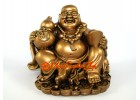 Laughing Buddha Statue with Gold Ingot and Wu Lou