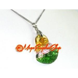 Liuli Glass Laughing Buddha Pendant Necklace