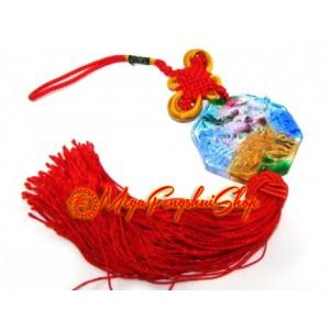 Liuli Temple Lion Biting Swords Tassels (Colorful)