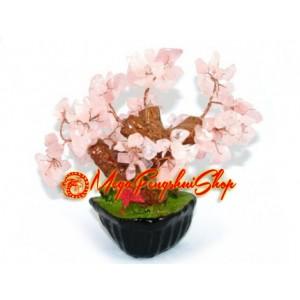 Mini Bonsai Rose Quartz Crystal Feng Shui Tree