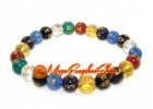 Mixed Crystal Om Mani Padme Hum Bracelet (8mm)