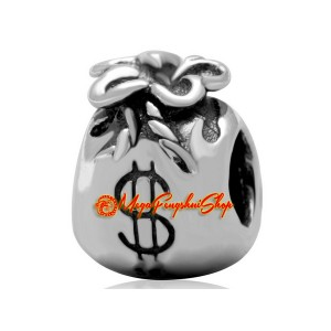 Money Wealth Bag with Dollar Sign Charm Bead (925 Silver)