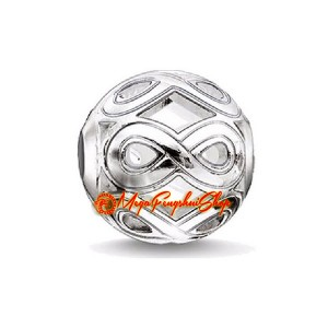 Number 8 Infinity Knot Charm Bead (Silver Plated)
