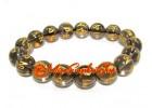Om Mani Padme Hum Crystal Bracelet (10mm) (Smoky Quartz)