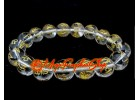 Om Mani Padme Hum Crystal Bracelet (12mm) (Clear Quartz)