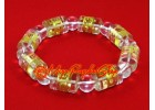 Om Mani Padme Hum Cylindrical Crystal Bracelet (clear)