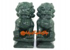 Pair of Feng Shui Foo Dogs - Green Stone