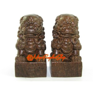 Pair of Fu Dogs - Wood