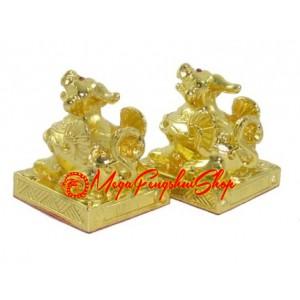 Pair of Golden Brass Pi Yao