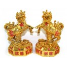 Pair of Golden Kei Loon on Bagua with Auspicious Objects