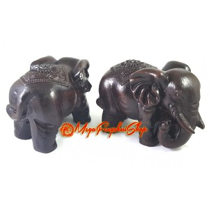 Pair of Good Fortune Elephants - Wood