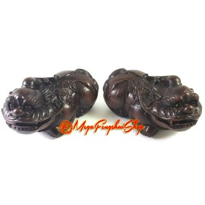Pair of Good Fortune Pi Yao - Wood