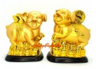 Pair of Good Fortune Pigs with Gold Ingot and Coin