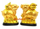 Pair of Good Fortune Pigs with Wu Lou and Wealth Pot