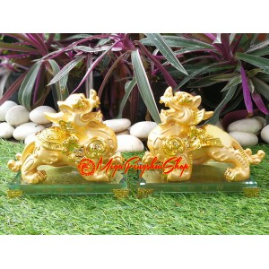 Pair of Immaculate Golden Feng Shui Pi Yao