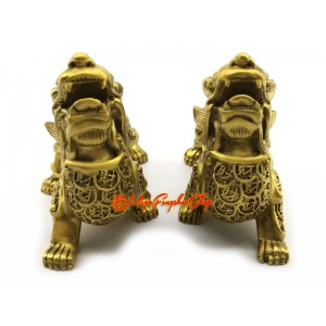 Pair of Wealth-Inviting Brass Feng Shui Pi Yao