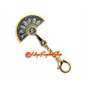 Peacock Mirror Fan Feng Shui Keychain