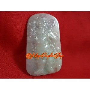 Premium Grade A Jade Kwan Kung Pendant (with certificate)