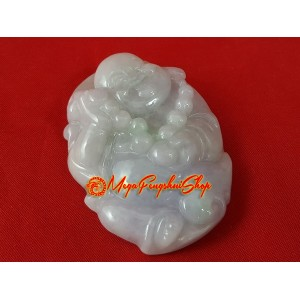Premium Grade A Jade Laughing Buddha Pendant (with certificate)