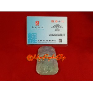 Premium Grade A Jade Standing Guan Gong Pendant (with certificate)