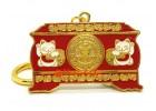 Prosperity Chest Featuring Maneki Neko Keychain