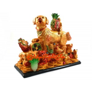 Prosperity Dog with Zodiac Animal Friends