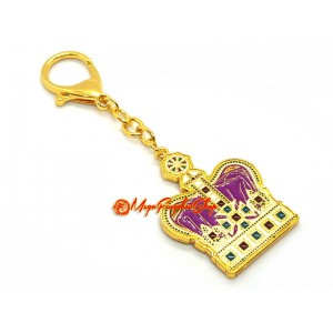Purple Crown Symbolizing Prestige and Success Keychain