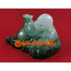 Reclining Laughing Buddha Holding Gold Ingot (Green)