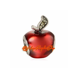 Red Enameled Apple Bead Charm (925 Silver)