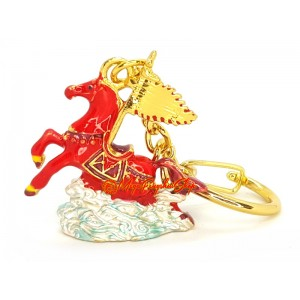 Red Flying Windhorse with Dragon Flag Keychain