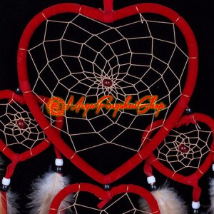 Red Hearts Dreamcatcher With Feathers and Beads