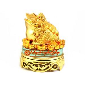 Rotating Golden Feng Shui Money Frog for Prosperity