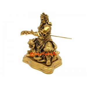 Seated Kwan Kung Statue with Dragon Sword (Bronze Color)
