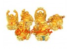 Set of Golden Laughing Buddha