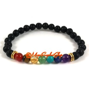 Seven Chakra Natural Crystal Bracelet with Diffuser Lava Stone
