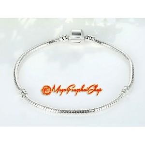 Snake Chain Bracelet for Pandora Bead Charm (Silver Plated)