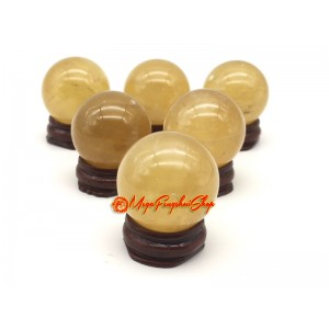 Six Feng Shui Citrine Crystal Balls