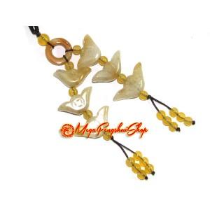 Six Yellow Jasper Prosperity Gold Ingots Tassels