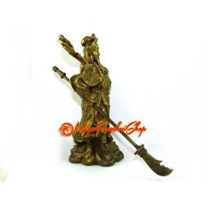 Standing Brass Guan Gong Holding Dragon Sword