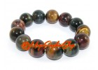 Tri-color Tigers Eye Elastic Bracelet (16mm)