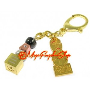 Trinity 5 Element Pagoda With Om Ah Hum Keychain