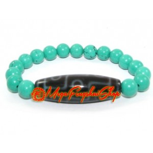 Dzi Bead with Turquoise Crystal Bracelet