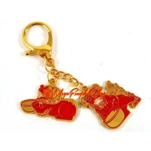 Tzi Chi Kau Red Dog Amulet Feng Shui Keychain