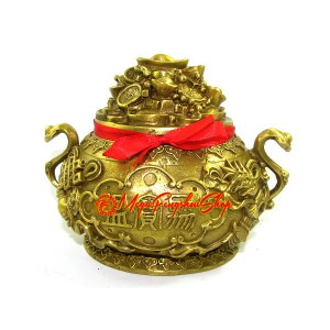 Wealth Inviting Brass Prosperity Pot with 8 Auspicious Objects